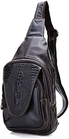 メンズチェストバッグ レザー メンズバッグ 男性 クロコダイルパターン 胸ポケット カジュアル ショルダーバッグ クロスボディバッグ 男性 バッグ 該当する場所: カジュアル エクササイズ 通学 通勤 旅行