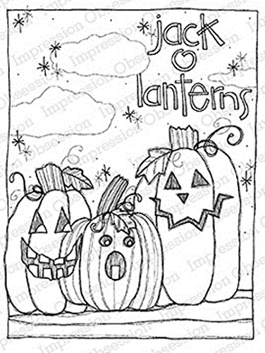 IO Jack-O-Lanterns Pumpkins Wood Mounted Rubber Stamp by Impression Obsession, Inc. - Lindsey Ostrom L19017 -