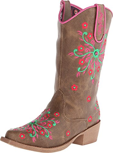 Price comparison product image Blazin Roxx Girls' Savvy Embroidered Cowgirl Boot Snip Toe Brown 10.5 D(M) US