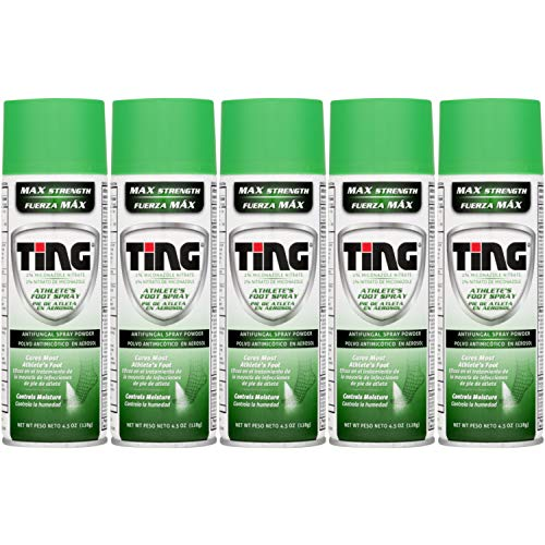 Special pack of 5 Ting Foot & Jock Itch, Antifungal Spray Powder 4.5 oz -
