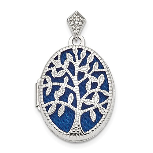 925 Sterling Silver Plate Textured Diamond Tree Photo Pendant Charm Locket Chain Necklace That Holds Pictures Oval Outdoor Nature Fine Jewelry Gifts For Women For Her