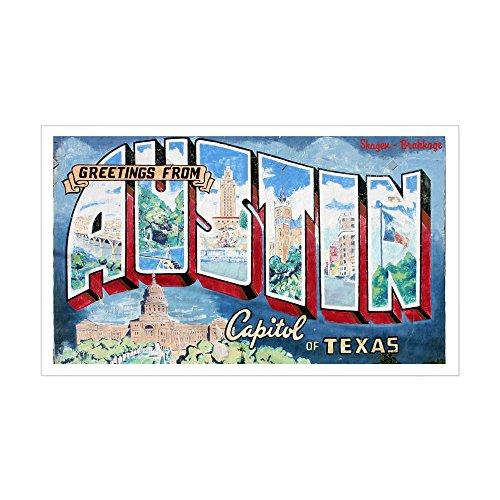 CafePress - Greetings From Austin Sticker (Rectangle) - Rectangle Bumper Sticker Car - Sticker Austin