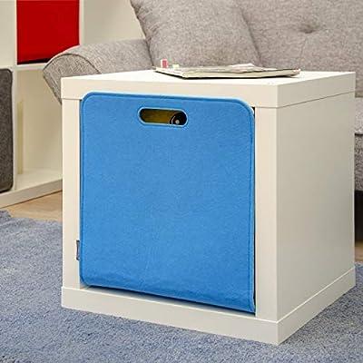DuneDesign Caja Almacenamiento Fieltro 33x33x38cm Cesta Fieltro Caja Kallax Inserción en estanterías Azúl: Amazon.es: Hogar