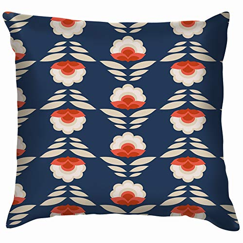 Retro Flowers Vintage Pillow Case Throw Pillow Cover Square Cushion Cover 18X18 -