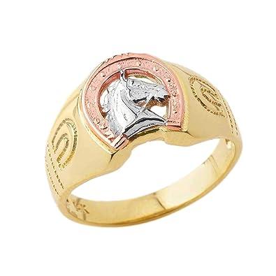 538d519e9 Unique 10k Tri-Color Yellow Gold Lucky Horseshoe Statement Ring (Size 4)
