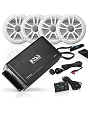 BOSS Audio Systems ASK904B.64 Marine 500 Watt 4 Channel Amplifier / 6.5 Inch Speaker Bluetooth System, Bluetooth Remote, USB Auxiliary Interface Mount, Waterproof Pouch
