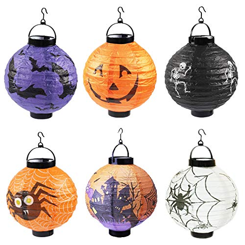 YAERHUI 6 Packs Halloween Lanterns, Jack-O-Lanterns Hanging Paper Lanterns LED Pumpkin Spider Bat Skeleton Castle Decorative Lantern Lights for Indoor Outdoor Halloween, Holiday Party Decorations