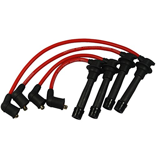 JDMSPEED New Red Ignition Spark Plug Wires Set for 90-00 Mazda Miata 1.6L (Miata Spark Plug Wires)