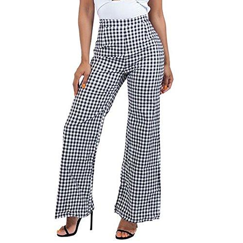Yizenge Women's Plaid High Waisted Wide Leg Long Palazzo Pants (M, Black&White)
