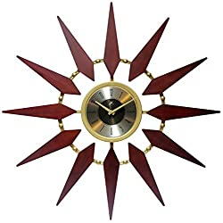 Sunburst 30 Inch Gold and Walnut Mid-Century Modern Wall Clock