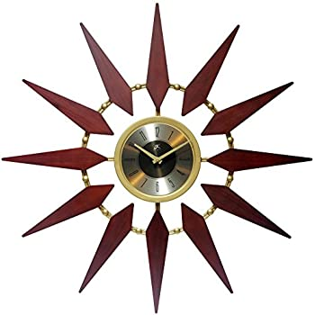 Sunburst 30 Inch Gold and Walnut Mid Century Modern Wall Clock Amazon com  Infinity Instruments Orion