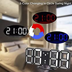 3 Color Digital LED Table Night Wall Clock Alarm Watch 24 or 12 Hour Display