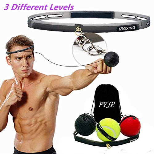 PYJR Boxing Reflex Ball, Boxing Training, 3 Training Speed Levels, Perfect Improving Speed Reactions, Agility, Punching Speed Hand Eye Coordination.3 ()