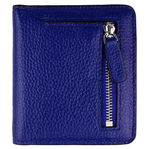 Women's RFID Blocking Small Genuine Leather Wallet Ladies Mini Card Case Purse (Blue)