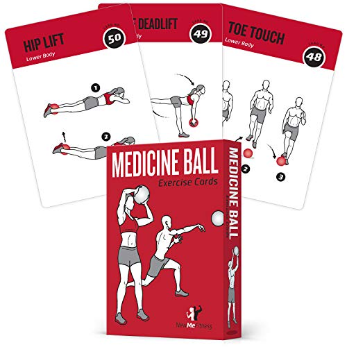 Medicine Ball Exercise Cards, Set of 62 :: for a High Intensity Home or Gym Workout :: 50 Exercises for All Fitness Levels :: Extra Large 3.5 x 5