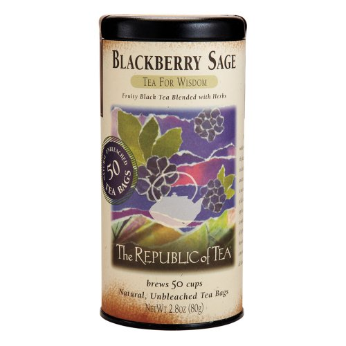 (The Republic Of Tea Blackberry Sage Black Tea, 50 Tea Bags, Gourmet Black Tea, Blackberry And Sage Blend)