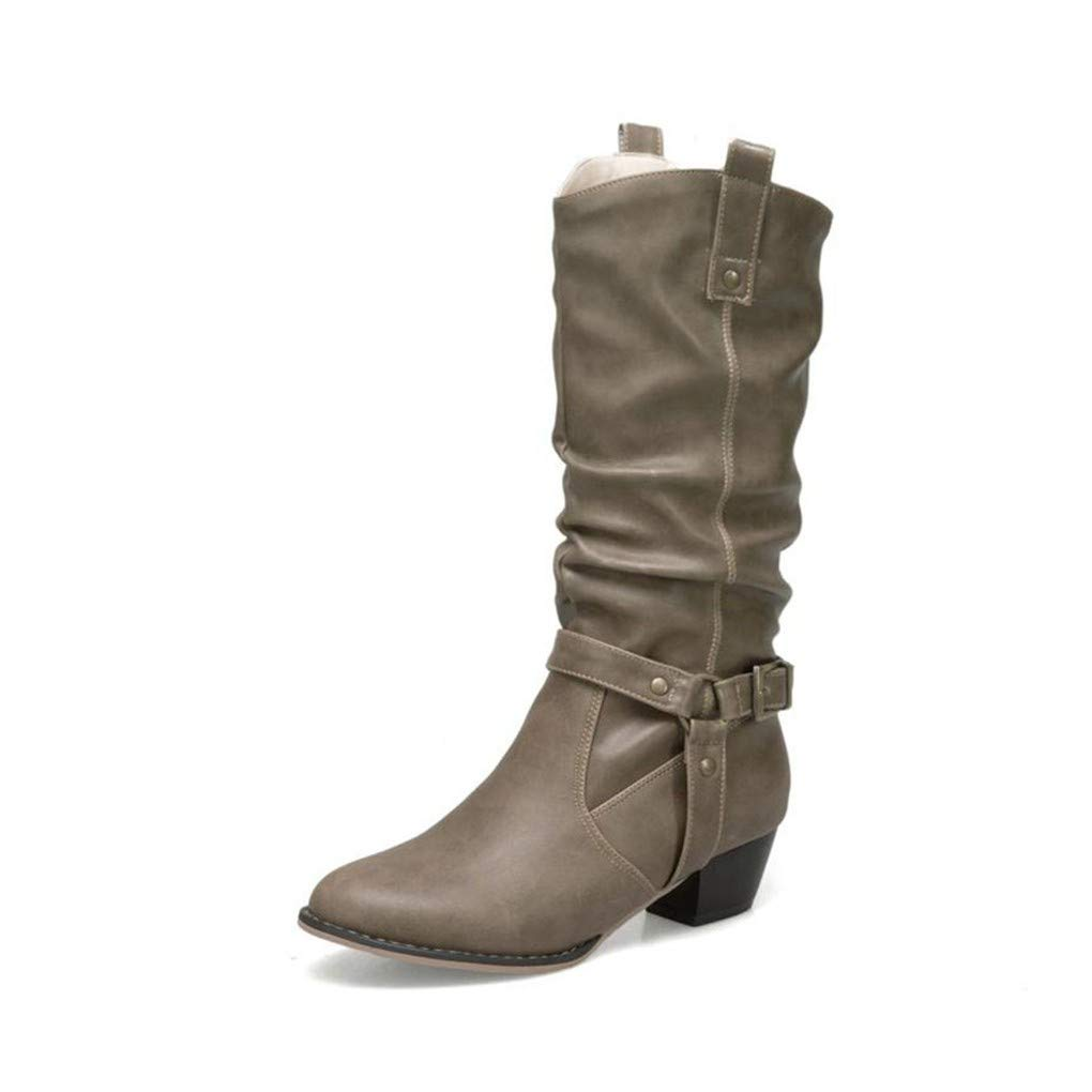 HAOLIEQUAN Plus Größe 34-50 Vintage damen damen Vintage High Heels Stiefel Buckle Round Toe Stiefel Party Warm schuhe damen Footwear bc80ce
