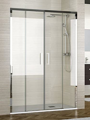 ALBAÑO (Mod Lyon) Mampara de ducha frente de 4 hojas cristal transparente perfiles cromo (197-201 cm): Amazon.es: Bricolaje y herramientas
