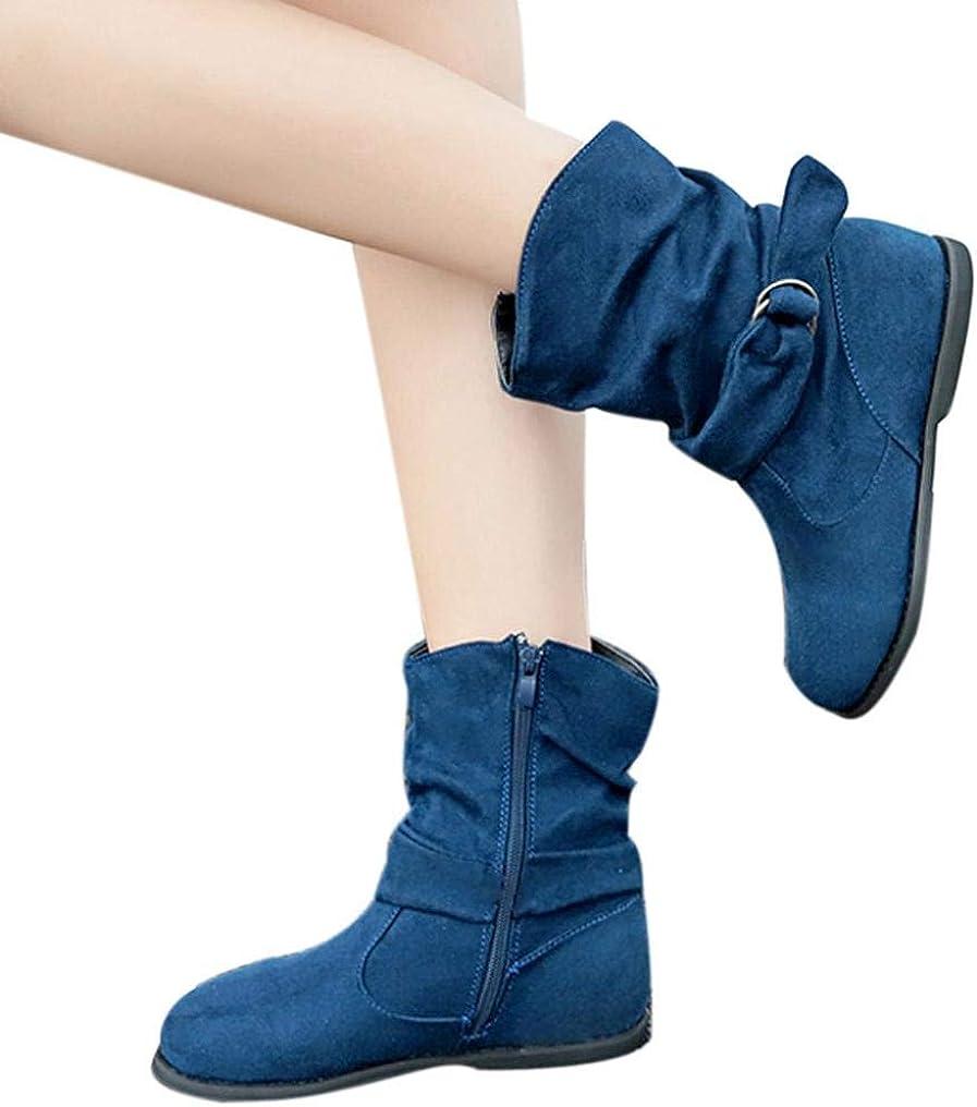 Flat Boots Trendy Elegant Mid Calf Vintage Ladies Booties womens Celebrity