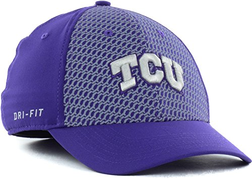(Nike Texas Christian University (TCU) Horned Frogs NCAA Swoosh Flex Dri-FIT Stretch Fitted Cap Hat Purple Chain Maille (Medium-Large))