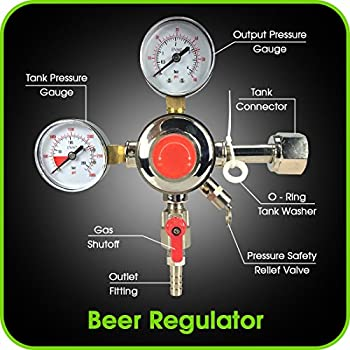 """Co2 Beer Regulator Dual Gauge Draft Beer Dispensing Kegerator Heavy Duty 0 to 60 PSI - 0 to 3000 Tank Pressure CGA-320 Inlet Connection with 3/8"""" O.D. Outlet Barb Features Safety Pressure Relief Valve"""