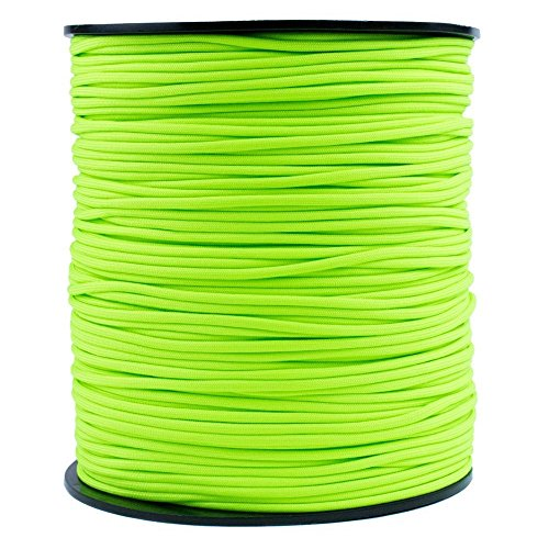 SGT KNOTS Paracord 550 Type III 7 Strand - 100% Nylon Core and Shell 550 lb Tensile Strength Utility Parachute Cord for Crafting, Tie-downs, Camping, Handle Wraps (4mm - 200 ft - Neon Green) (Down Rope)
