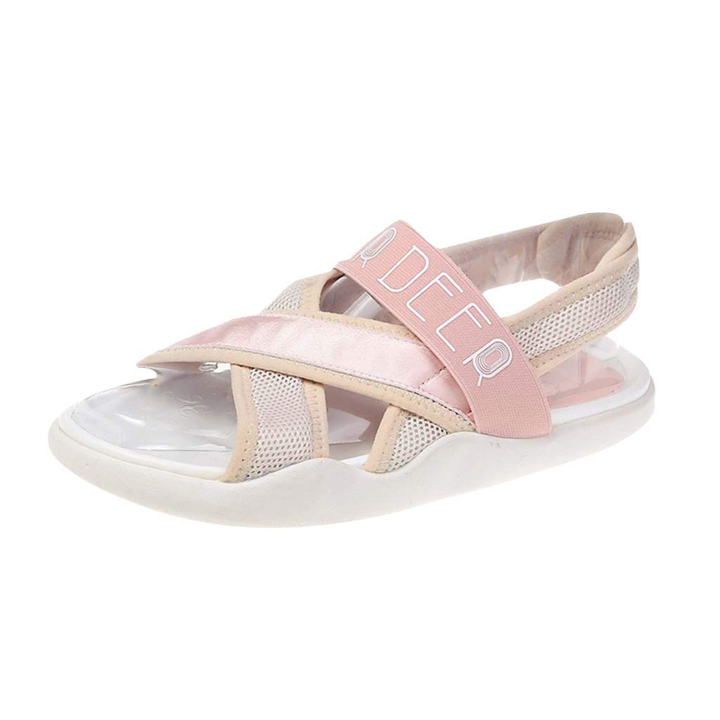 Fastbot Women's Summer Sandals Open Toe Casual Comfort Fashion Flat-Soled Sports Leisure Roman Slippers Shoes Pink