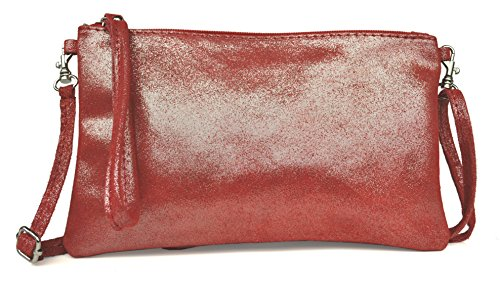 in Made in Leather Lae Nubuck handbag Red with Colours sequins Clutch Italy Various U8nO618F