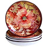 Certified International Watercolor Poppies Soup/Pasta Bowl (Set of 4), 8.5'', Multicolor
