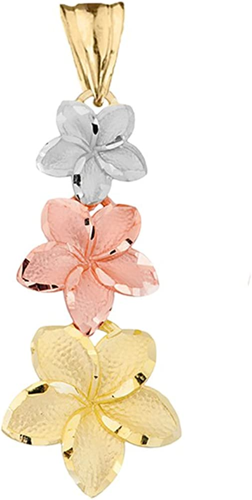 14K Tri-Color Flowers Small Charm Pendant