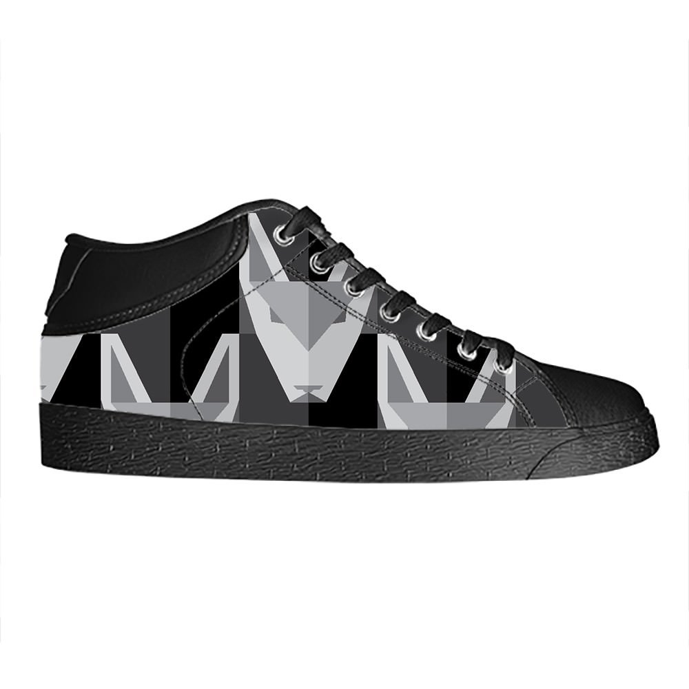 Custom Wolf Mens Classic High Top Canvas Shoes Fashion Sneaker