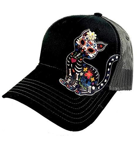 Women's Sugar Skull Trucker Hat Day Of The Dead Cat with Swarovski Crystal by Shop - Cap Swarovski Cotton