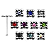 20 Pieces Mix Color Jeweled Tub 925 Sterling Silver Nose Pin Straight End 20Gx5/16 (0.8x8MM). Pack in Acrylic Box.