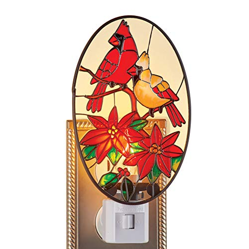 Cardinals Couple and Poinsettias Stained Glass Night Light - Festive Winter Decoration