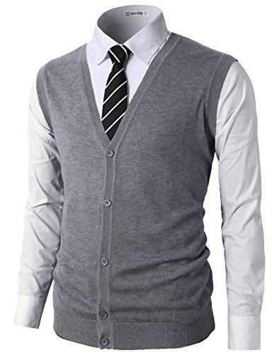 Mens V-neck Silk Sweater - H2H Mens Casual Slim Fit Knitted V-Neck Button-Down Premium Vests Gray US M/Asia L (CMOV038)