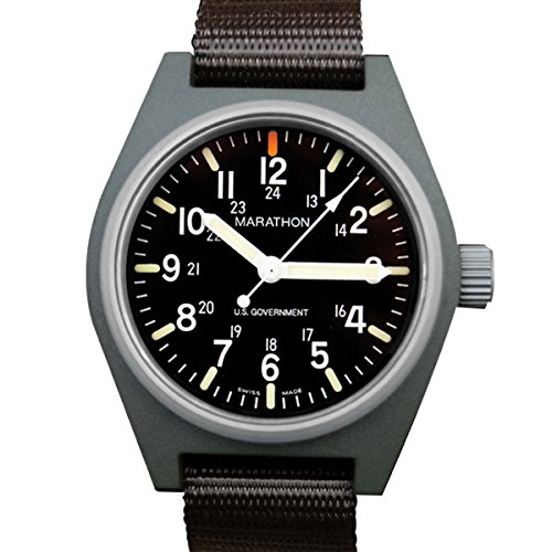 MARATHON WW194015 Swiss Made Military Field Army Watch with Date, Tritium, and Sapphire Crystal