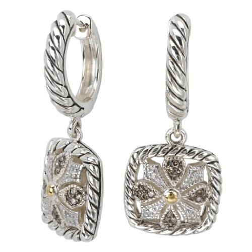 925 Silver, Brown & White Diamond Square Earrings w/ 18k Gold Accents (0.18ctw)