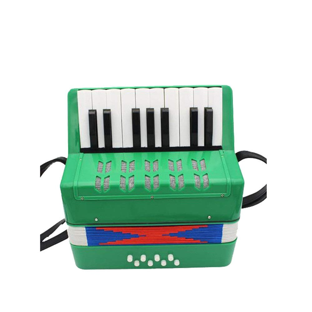Accordion Mini Size Kids Piano Accordion with Straps 17 Keys 8 Bass Music Instruments for Beginners Students Small Educational Instrument Band Toy Children's Gift