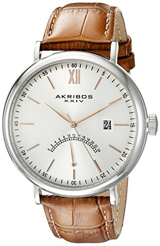 Akribos XXIV Men's AK845SSBR Retrograde Silver Tone Stainless Steel and Brown Leather Strap Watch