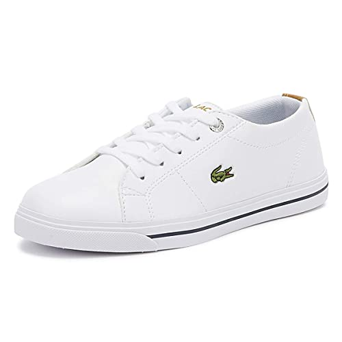 8b8a8fec57 Lacoste Children Boys Riberac 418 Trainers in White- Lace Fastening-