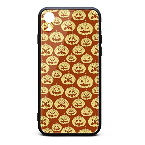Halloween Pumpkin Carving face red Phone Case for iPhone xr, Slim Protection Art Line Design Cell Phone Protective Case -