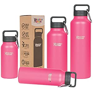 Healthy Human 40 oz Water Bottle - Cold 24 Hrs, Hot 12 Hrs. 4 Sizes & 12 Colors. Double Walled Vacuum Insulated Stainless Steel Thermos Flask with Carabiner & Hydro Guide. Color: Hawaiian Pink