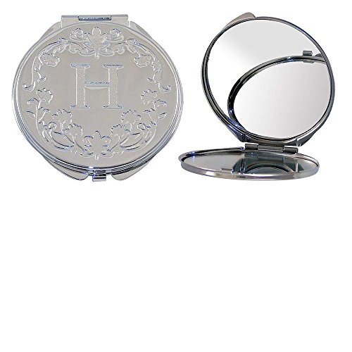 Polished Metal Compact Purse Mirror with Dual View, Monogram Initial H and Floral Print. ()