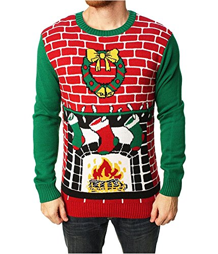 Ugly Christmas Sweater Men's Fireplace Pullover Sweater-Large (Fireplace Ugly Sweater)