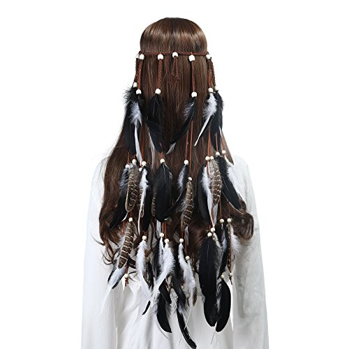 Feather Headband Women Festival Headwear -AWAYTR Bohomia Feather Rope Crown Headdres For girls 1970s ()
