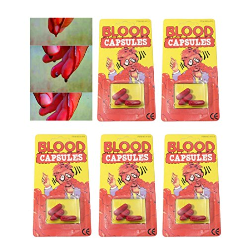 5Pack Fake Blood Capsules For Halloween Fool's Day Film PropsMakeup Fake Blood Pill Vampire Capsules Practical Jokes And Gags for $<!--$7.99-->