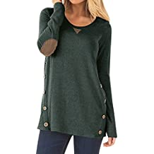 Calvin & Sally Womens Long Sleeve Buttons Cotton Casual Blouse Tunic Tops With Elbow Faux Suede
