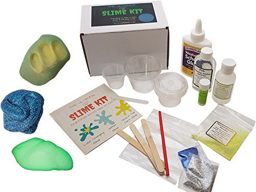 Ultimate DIY Slime Kit - Make Glow-In-The Dark, Color Changing, Clear and Glitter Slime - Over 10 Recipes & Experiments, Fun & Educational Gift (Gift Ideas For 8 Year Old Girls)