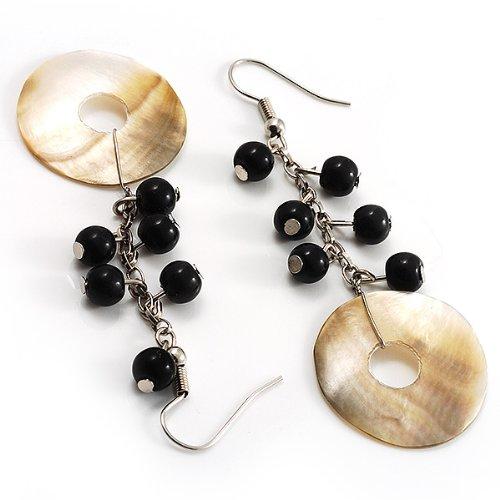 Boucles d'Oreille Pendantes Perles Nacre (Ton Argent)