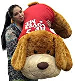 Giant Valentine Plush Puppy Dog Huge 5 Feet Long Squishy Soft Wears HE LOVES ME T-Shirt Great For Valentine's Day or ANY Day to Show Your Love